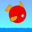 A round, red fish jumps out of the blue sea