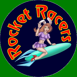 The Rocket Racers mascot - a bunnygirl riding a rocket